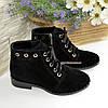 Женские   замшевые ботинки на шнуровке, черный цвет, фото 5