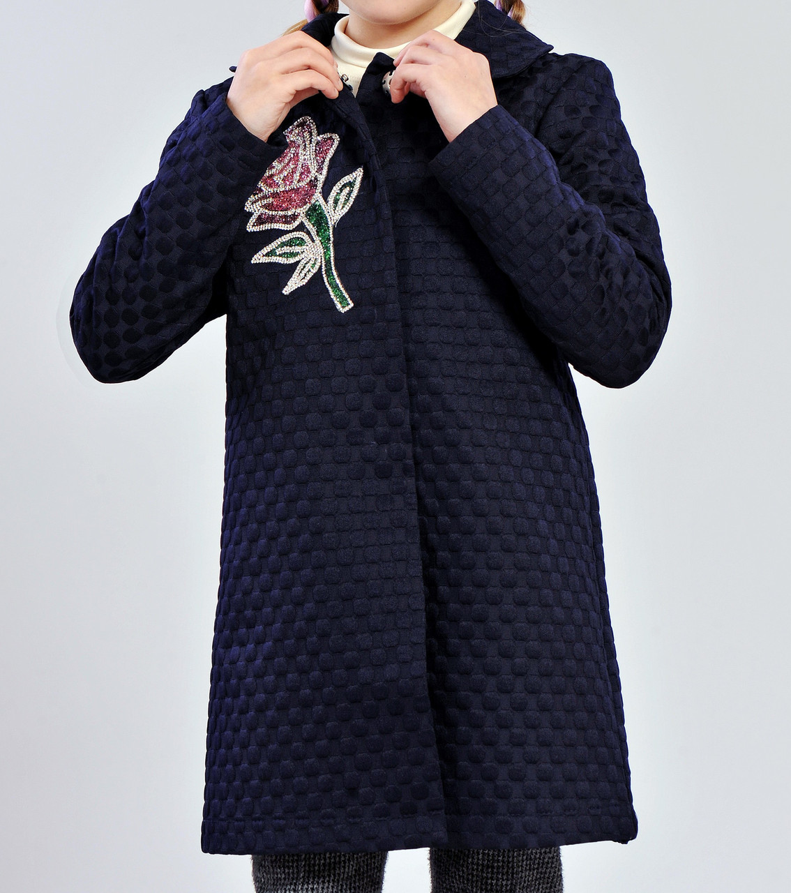 Пальто демисезонное для девочек 122-140 роста Роза