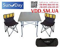 Стіл розкладний алюмінієвий та 2 стільці зі спинкою Sunday 73-813 // стол со стульями