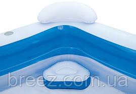 Надувной бассейн Bestway геометрия с сиденьями и подголовниками 213 х 207 х 69 см, фото 2