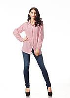 Женская хлопковая рубашка. Модель К090_хлопок полоска красная
