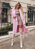 """Женское кашемировое пальто-кардиган """"Fashion"""" с поясом и карманами"""