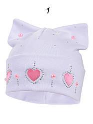 Демисезонная шапка на девочку в расцветках, Объём 42-44