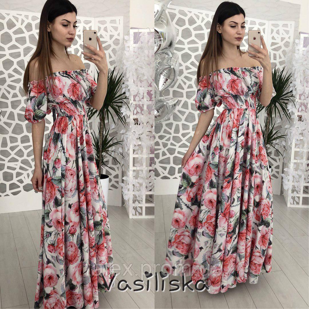 a3d7ed58a33 Платье летнее в пол на широкой резинке на талии - Оптово-розничный магазин  женской одежды