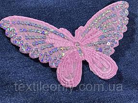 Аппликация Бабочка с пайетками цвет розовый 195x110 мм