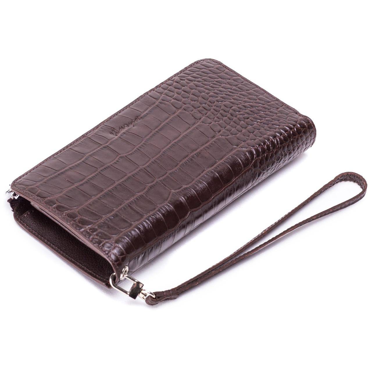 Мужской клатч кожаный коричневый Karya 0709-57