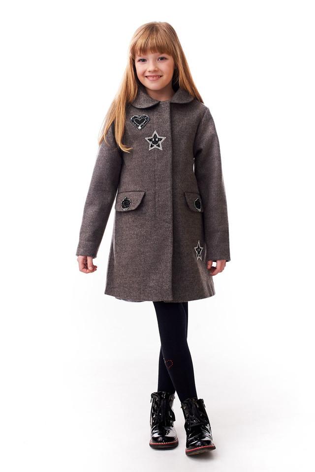 Пальто весеннее для девочек 122-140 роста Смайлик