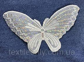 Аппликация Бабочка с пайетками цвет белый 195x110 мм