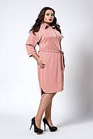 Модное женское платье-рубашка с поясом пудрового цвета, фото 1
