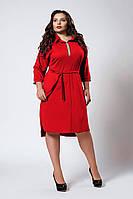 Женское платье-рубашка декорировано камнями, красного цвета, фото 1