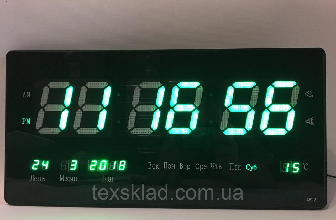 Акцыя!!! Настенные электронные часы 3615 green (36x15см/Руское меню)