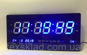 Настінні електронні годинники Led Clock 3615 blue (36х15см/Руське меню)