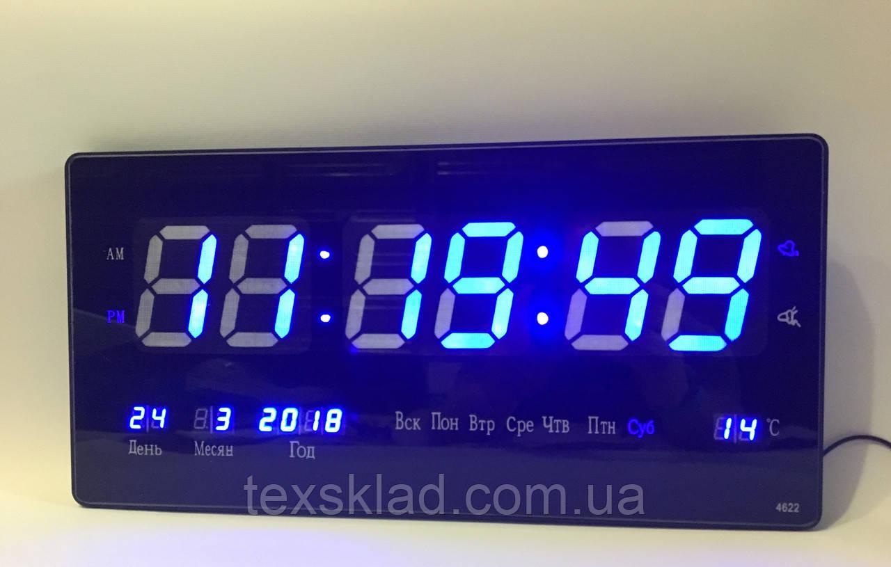 Настенные электронные часы Led Clock 4622 blue (46x22см Руское меню) -  «ТЕХСКЛАД 50aa72c8038