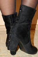 Ботиночки осенние на удобном каблуке сзади полоса стразы код 118