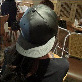 Кожаная черная кепка без надписей с прямым козырьком Snapback Hip Hop, фото 2