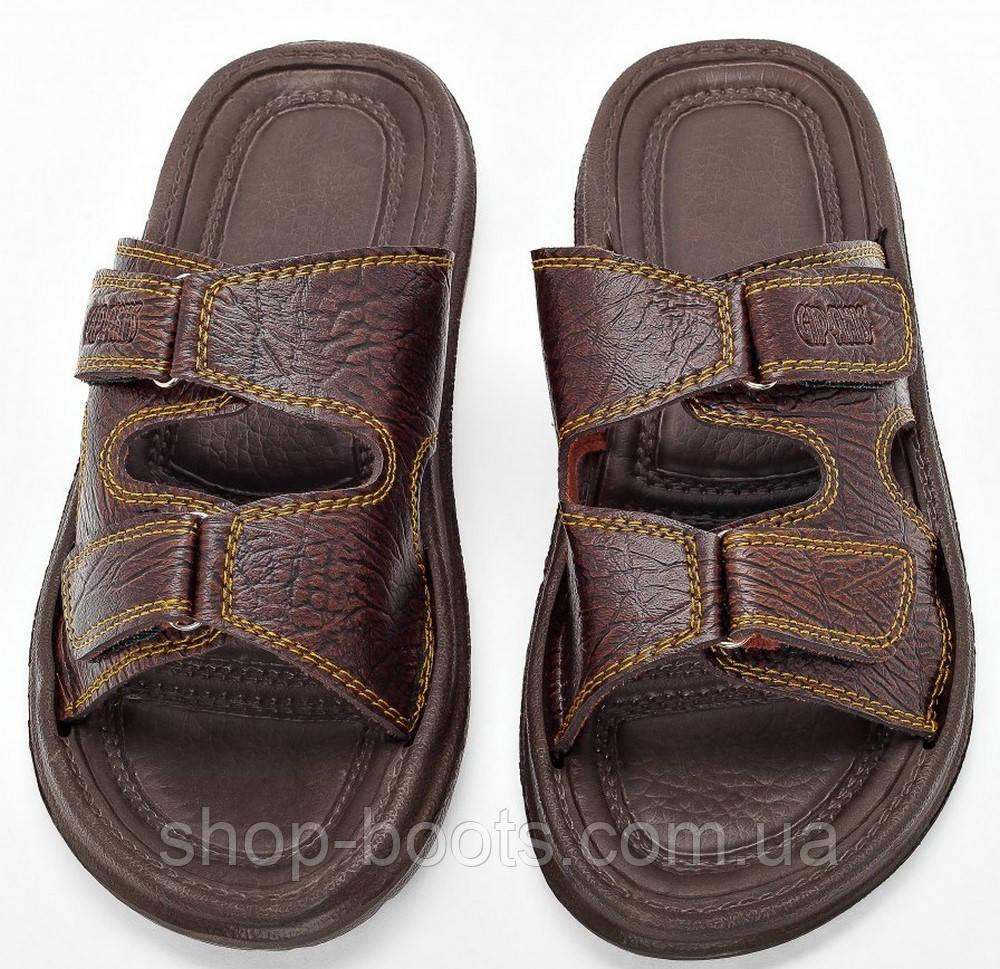Мужские сандалии шлепанцы (кожзам) оптом Gipanis. 41-45рр. Модель сандалии M205 коричневый