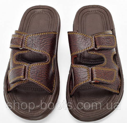 Мужские сандалии шлепанцы (кожзам) оптом Gipanis. 41-45рр. Модель сандалии M205 коричневый, фото 2