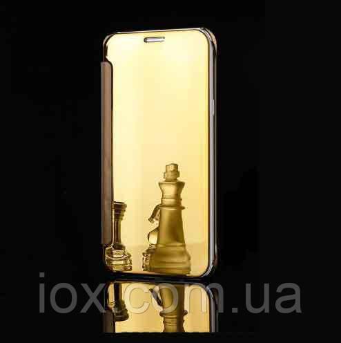 Зеркальный золотой чехол-книжка премиум класса для Samsung Galaxy J5 (2016)