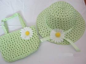 Летняя шляпа и сумочка для девочки Саланый, Цветы из ткани, Женский, Лето, Китай, Пляжная шляпа, Зеленый