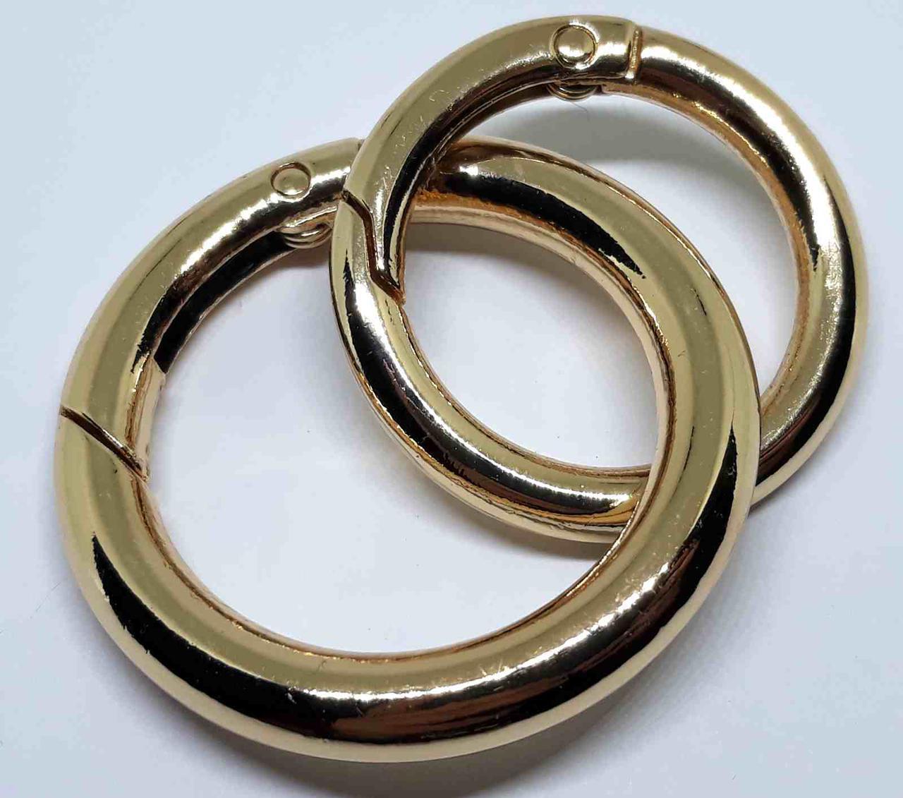 Кольцо карабин 25 мм золото