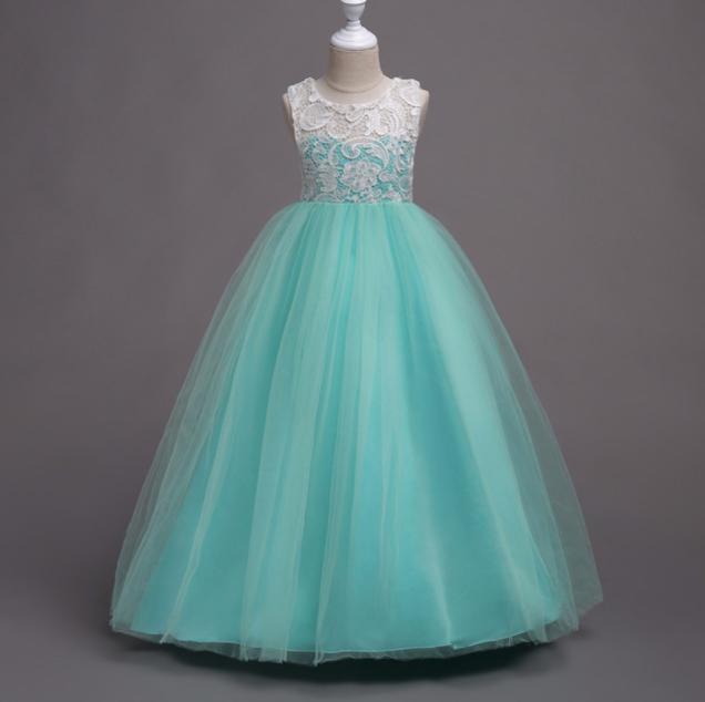 Платье бирюза бальное выпускное длинное в пол нарядное для девочки в садик или школу