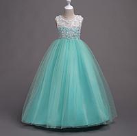 Платье бирюза бальное выпускное длинное в пол нарядное для девочки в садик или школу, фото 1