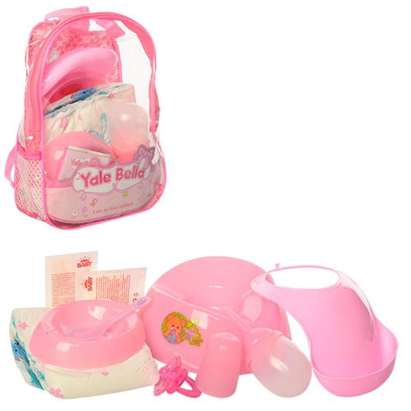 Набор аксессуаров для Пупса baby born, горшок, подгузники, бутылочка, тарелка, каша, соска, в рюкзаке, YF881