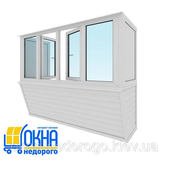 Балкон с выносом каркасом по подоконнику от пола