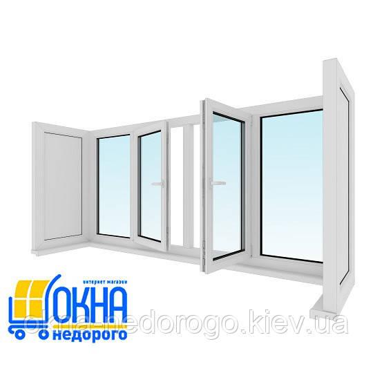 Остекление балкона  П-образной формы