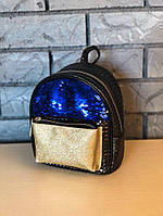 Маленький женский черный рюкзак с пайетками/блестками/паетками, пу кожа, фото 1