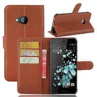 Чехол HTC U Play книжка PU-Кожа коричневый