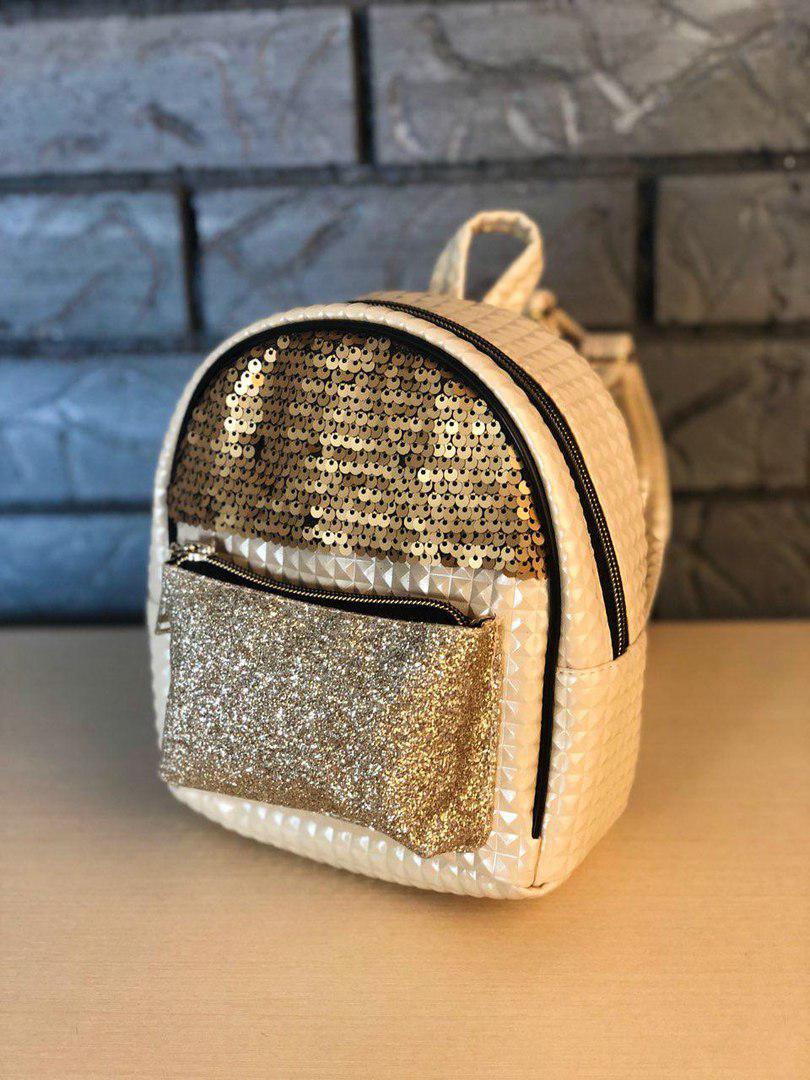 Женский небольшой городской рюкзак кремовый в пайетках/блестках/паетках, пу кожа