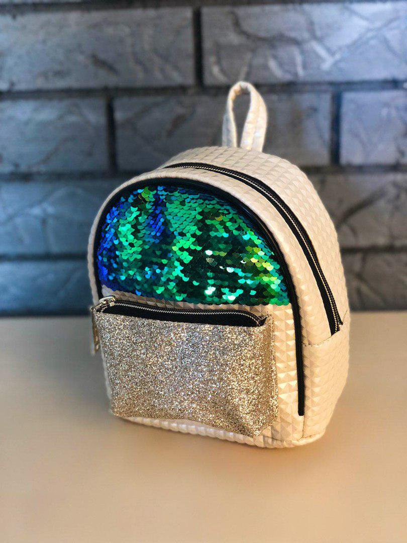 Маленький женский кремовый/бежевый рюкзак в пайетках/блестках/паетках, пу кожа