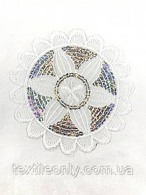 Аппликация Цветок круг с пайетками цвет белый 140 мм