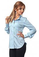 cfab91eca6b Женская коттоновая рубашка голубого цвета с длинным рукавом. Модель 418 48