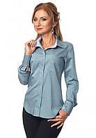 Женская коттоновая рубашка темно-голубого цвета с длинным рукавом. Модель 418, фото 1