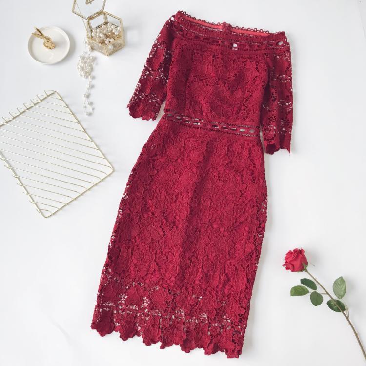 494946fbb9a Красивое женское платье из набивного кружева красное  продажа