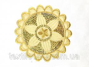 Аппликация Цветок круг с пайетками цвет коричневый140 мм