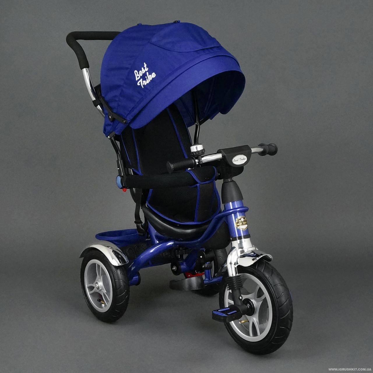 Детский трехколесный велосипед надувные колеса, синий