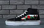 Женские высокие кеды Vans Sk8-Hi Mid Roses (Ванс) черные с розами, фото 6