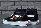 Женские высокие кеды Vans Sk8-Hi Mid Roses (Ванс) черные с розами, фото 8