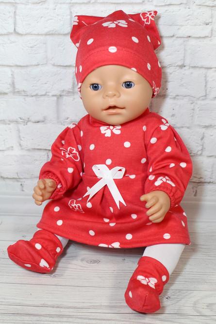 Платье теплое Бантики красное для куклы Baby Born