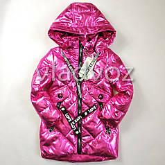 Детская демисезонная куртка пальто для девочки малиновая 5-6 лет