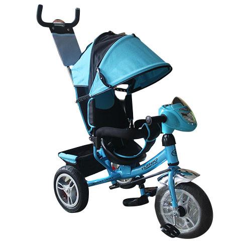 Колясочный трехколесный велосипед голубой, надувные колеса