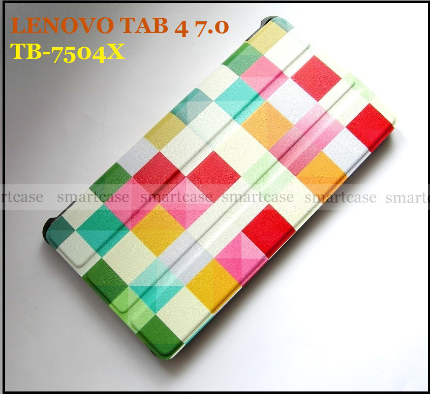 Цветные кубики (Color Blocks) чехол книжка Lenovo Tab 4 7.0 Tb-7504X в эко коже и магнитами