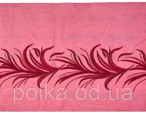 """Вышивка на сетке """"боа"""", ширина 22см, цвет темно красный, Италия"""