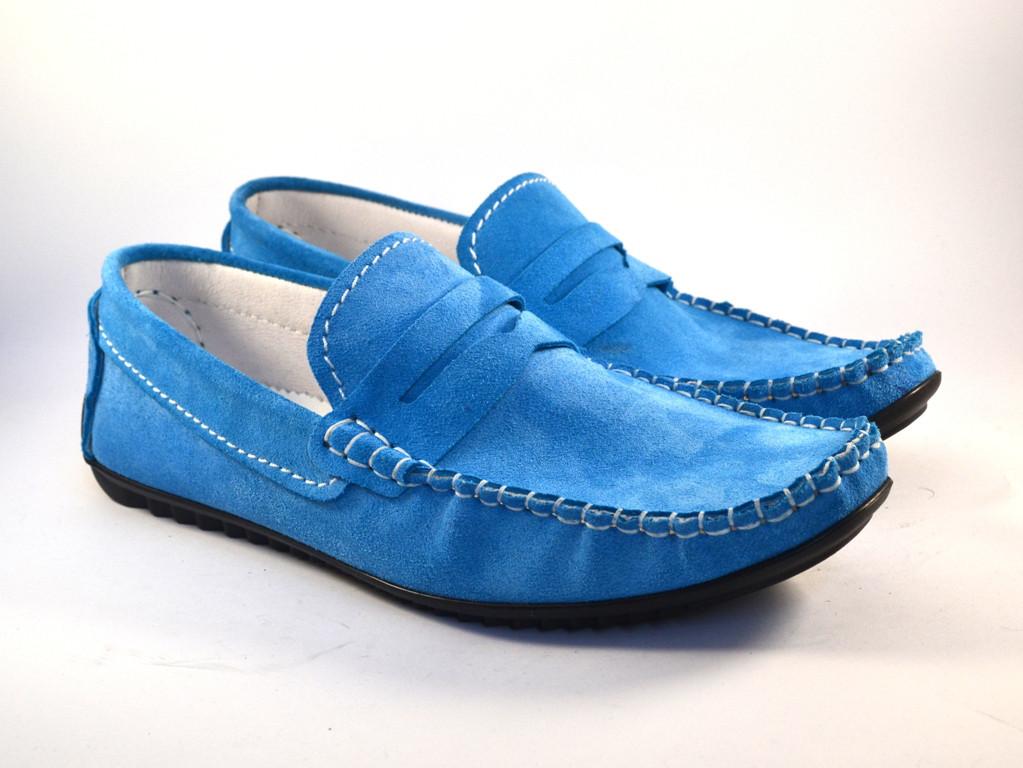 Большой размер летние мужские мокасины замшевые голубые Rosso Avangard SE Alberto M4 Blu BS