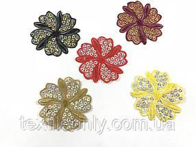 Набір аплікацій з паєтками квітка , колір чорний, малиновий, коричневий, жовтий, фіолетовий 75х70 мм