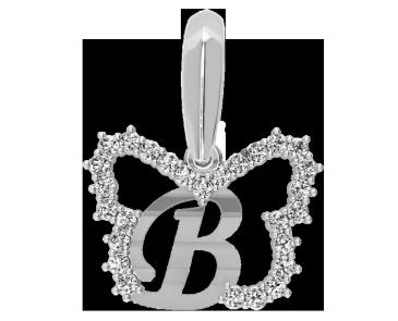 Подвеска - кулон серебряная Буква В 60147_В