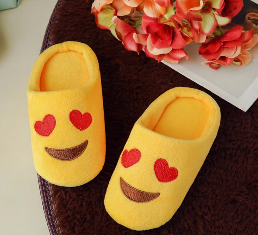 Тапочки детские смайлики Сердечки Emoji смай